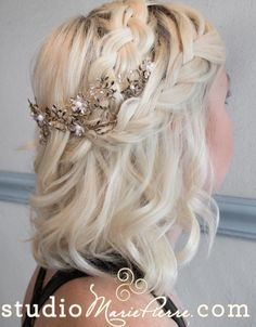 Wedding Hairstyle Inspiration Studio MariePierre MODwedding is part of Cute hairstyles for medium hair - Wedding Hairstyles Cute Hairstyles For Medium Hair, Cute Braided Hairstyles, Best Wedding Hairstyles, Fancy Hairstyles, Trending Hairstyles, Bride Hairstyles, Hairstyles With Bangs, Medium Hair Styles, Short Hair Styles