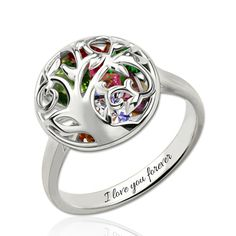 Buy this cheap personalized Mother's Day Round Ring With Heart Birthstones Platinum Plated online with special discount at GNN now!