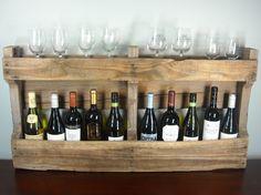 Large Pallet Wine Rack / Rustic Wine Shelf / Book Shelf / Reclaimed Wood / Wine Bottles. $49.00, via Etsy.