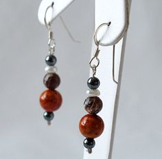 Now on Etsy ! Orange stones earrings  Sterling silver .925 and by fleurduluxe