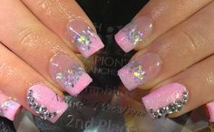 Baby pink with glitter acrylic nails