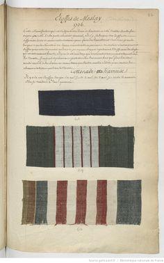 Etoffes de Meslay // 1736 : [échantillons de tissus] | Gallica Weaving Textiles, Textile Fabrics, Textile Patterns, Textile Design, Print Patterns, Textile News, 18th Century Fashion, Fabric Samples, Fabric Swatches