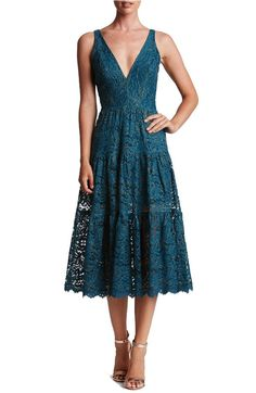 Teal Lace Dress Below The Knee Length