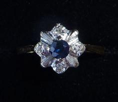 Antique Art Deco 18ct Gold Platinum Sapphire & Diamond Ring, Size P, US 7 1/2