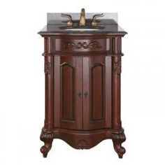 PROVENCE-VS24-AC Provence 24 in. Vanity with Imperial Brown Granite Top and Sink in Antique Cherry - Sears