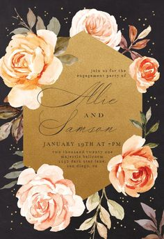 Gold and Roses - Engagement Party Invitation #invitations #printable #diy #template #Engagement #party #wedding Free Wedding Invitations, Christening Invitations, Engagement Party Invitations, Bridal Shower Invitations, Funeral Cards, Memorial Cards, Rose Wedding, Party Wedding, Save The Date Cards
