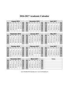 2016-2017 Academic Calendar Calendar