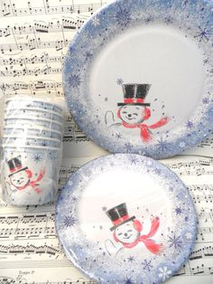 Paper Plate Party Set from the 1950's / 18 piece set by HandPycd, $16.50