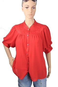 Authentic Anthropologie Moulinette Soeurs Colline Bibbed ButtonDown Red Blouse 8 #Anthropologie #Blouse #Casual