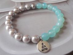 Swarovski Pearls Faceted Aqua Agate Gemstone Bracelet   Zen Mindful Serene Bracelet by OceanaireDreamer on Etsy