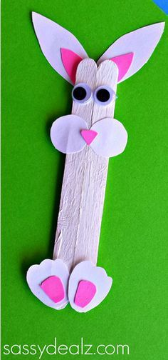 Popsicle Stick Bunny Craft for Kids #Rabbit art project - CraftyMorning.com