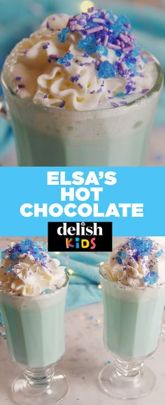 Elsa would totally approve of this hot chocolate. Get the recipe at Delish.com. #elsa #frozen #hot #hotchocolate #chocolate #blue #recipes #easyrecipe