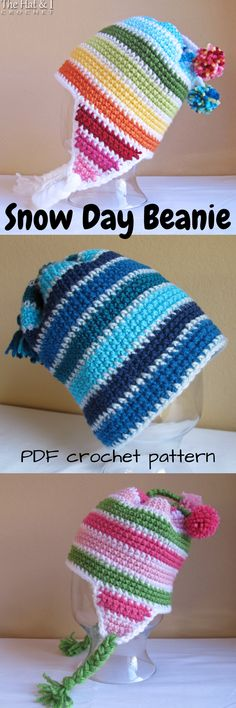 Snow Day Ear Flap Beanie crochet pattern. Adorable PDF pattern for this striped winter hat. #etsy #ad #toque