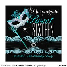 Masquerade Sweet Sixteen Sweet 16 Teal Blue CardMasquerade Mask Sweet 16 Sweet Sixteen, Teal Blue Lace Black. 16th Birthday Party Invitations. All Occasion Invite invitation All Occasions birthday invites. Customize with your own details and age. Template for Sweet 16, 16th, Quinceanera 15th, 18th, 20th, 21st, 30th, 40th, 50th, 60th, 70th, 80th, 90, 100th, Fabulous product for Women, Girls, Zizzago created this design PLEASE NOTE all flat images! They Do NOT have real Glitter, Diamonds…