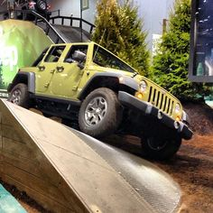 Jeep Wrangler Rubicon on the 30 degree tilt on the Jeep Test Track. Chicago Auto Show 2013.