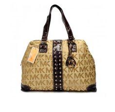 Cheap Michael Kors Logo-Print Large Khaki Totes Women Outlet.