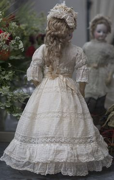 """15"""" (38 cm.) Very Beautiful Antique French Fashion Doll by Jumeau in original dress Antique dolls at Respectfulbear.com"""