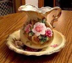 Vintage Enesco Pitcher and Bowl Set:) Vintage Bowls, Vintage Tea, Vintage Cards, Victorian Pitchers, Kitchen Ornaments, Bowl Set, Water Pitchers, Tea Cups, Bakeries