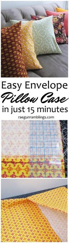 Tutorial Quick Envelope Pillow Case 2019 Great DIY sewing tutorial I've already made a few of these envelop pillow cases! Easy to customize for any home decor. The post Tutorial Quick Envelope Pillow Case 2019 appeared first on Pillow Diy. Easy Sewing Projects, Sewing Projects For Beginners, Sewing Tutorials, Sewing Hacks, Sewing Crafts, Sewing Tips, Fabric Crafts, Sewing Ideas, Diy Crafts