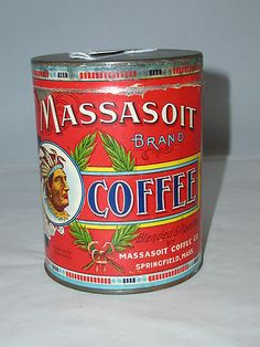 VINTAGE MASSASOIT PAPER LABLE RARE COFFEE TIN CAN
