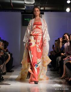 Model wearing kimono