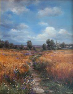 Olga Odalchuk - Road to the Gvozdavka village Road Painting, Sky Painting, Artist Painting, Painting Flowers, Landscape Art, Landscape Paintings, Landscape Photography, Nature Photography, Pictures To Paint