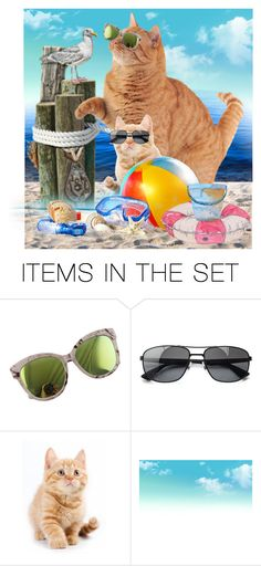 """..... public litter box?"" by daincyng ❤ liked on Polyvore featuring art and catinsunglasses"