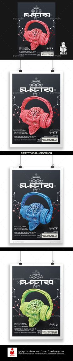 Electro Psycho Poster - Flyer Template #flyertemplate Buy and  Download: http://graphicriver.net/item/electro-psycho-poster-flyer-template/12145305?ref=ksioks