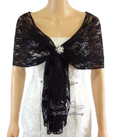 Bridal Lace Wrap Stole Black Lace Shawl Bridal by MyRadiantBeauty