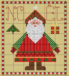 free Santa cross stitch pattern from France Santa Cross Stitch, Simple Cross Stitch, Counted Cross Stitch Patterns, Cross Stitch Charts, Cross Stitch Embroidery, Christmas Charts, Christmas Cross, Father Christmas, Cross Stitch Freebies