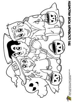 A colorier, Dracula, la sorcière et Frankenstein qui fêtent Halloween