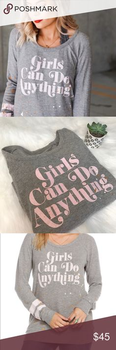"Chaser ""girls can do anything"" sweater Chaser ""girls can do anything"" sweater/sweatshirt  Light gray color  Luxurious and soft material Vintage style  Suggests to wash separately and describes how to on the tag  No flaws, rips or stain  Meant to be an Oversized fit, but can be worn anyway desired if measurements fit your size   Brand new with tags  18"" bust  23.5"" length   Smoke free home  Bundle and save  Retails for around 79 dollars Chaser Tops"