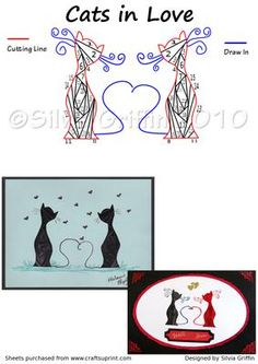 Cats in Love on Craftsuprint designed by Silvia Griffin - Any animal lover would love to get these cuties. Anniversary,Wedding, Birthdays, Valentines are just a few occasions these two would be great for. Use both or just one cat. Add a Vail and top hat for a wedding and add the name of the couple. Make them in all gold paper for an anniversary card. Mustache and tail is either peel offs or just drawing. - Now available for download!