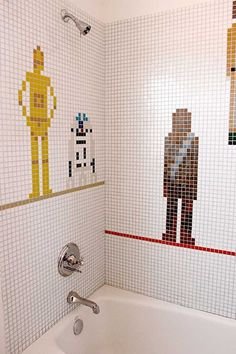 In a bathroom far far away, this unique #StarWars bathroom tile mosaic adorns the wall. Designed by Jagoda Architecture, this themed shower wall shows C3-PO, R2-D2 and Chewbacca seemingly stood on coloured platforms. My son would be so excited!