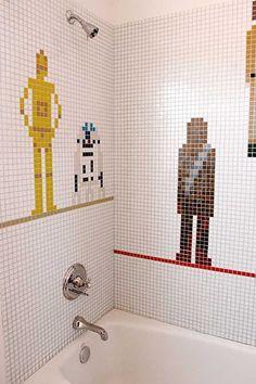 in a bathroom far far away, this unique Star Wars bathroom tile mosaic adorns the wall....