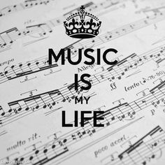 Music sheet - full of 1/16ths and triplet music notes that some might call a complicated music score - and the comforting thought of my days:  MUSIC IS MY LIFE