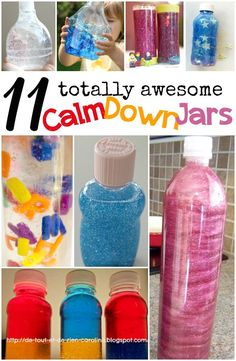 11 DIY calm down jar ideas. Great idea for calming kids down during timeouts, car trips, and before bed!