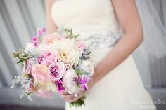 Kristen Taylor Photography Blog Flower by Parsonage Events Clarkston, Michigan Cafe au Lait dahlias, pink garden roses, pink lisianthus, pink sweet peas, ranunculus and dusty miller.
