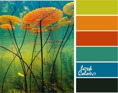 Сочетание синего, оранжевого, зеленого