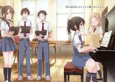 Sawa, Konatsu, Wakana, Taichi, Wein, singing, playing, piano, text; Tari Tari
