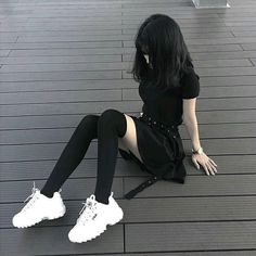 At Fashion Outfit - Home Emo Outfits, Grunge Outfits, Korean Outfits, Girl Outfits, Fashion Outfits, Dark Fashion, Grunge Fashion, Asian Fashion, Teen Fashion