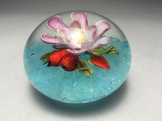 Magnum Chinese Pink Flower Red Pear Art Glass Paperweight #paperweights