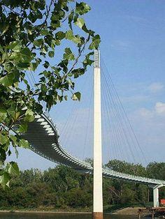 Bob Kerrey Pedestrian Bridge — 3,000-foot-long lighted bridge thats 25 feet above the Missouri River. #omaha #nebraska