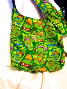 TMNT Teenage Mutant Ninja Turtles REVERSIBLE CrossBody Bag / purse Leonardo Michelangelo Donatello Raphael