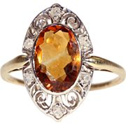 Antique Edwardian Citrine and Rose Cut Diamond Ring, 18k Gold