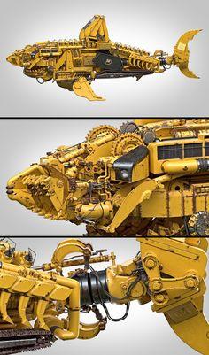 caterpillars shark by ricardo passos Mechanical Art, Mechanical Design, Robot Concept Art, Concept Cars, Metal Design, 3d Modelle, Robot Design, Dieselpunk, Caterpillar