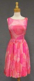Vibrant Ben Reig Silk Chiffon Cocktail Dress w/ Wrap