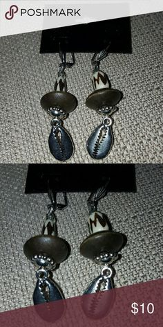 Selling this Silver Pewter Cowrie Shells Earrings on Poshmark! My username is: racustomcloset. #shopmycloset #poshmark #fashion #shopping #style #forsale #Jewelry