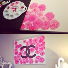 Diy roses chanel logo canvas. Fun girly art