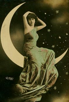 Moon Goddess ~ Turn of the Century Reutlinger Postcard.